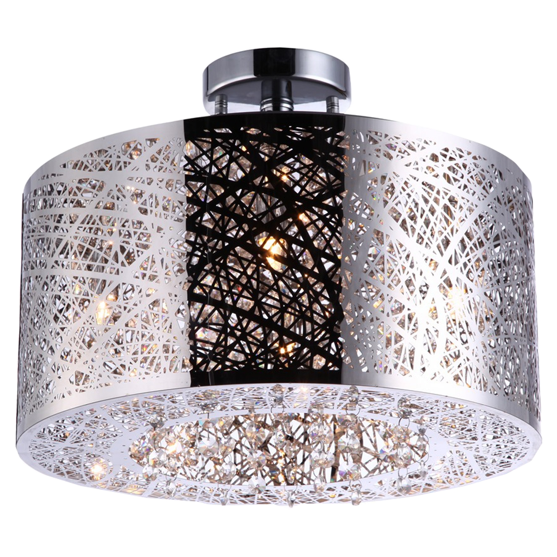 royal 4 light drum pendant chrome crystals dcg stores