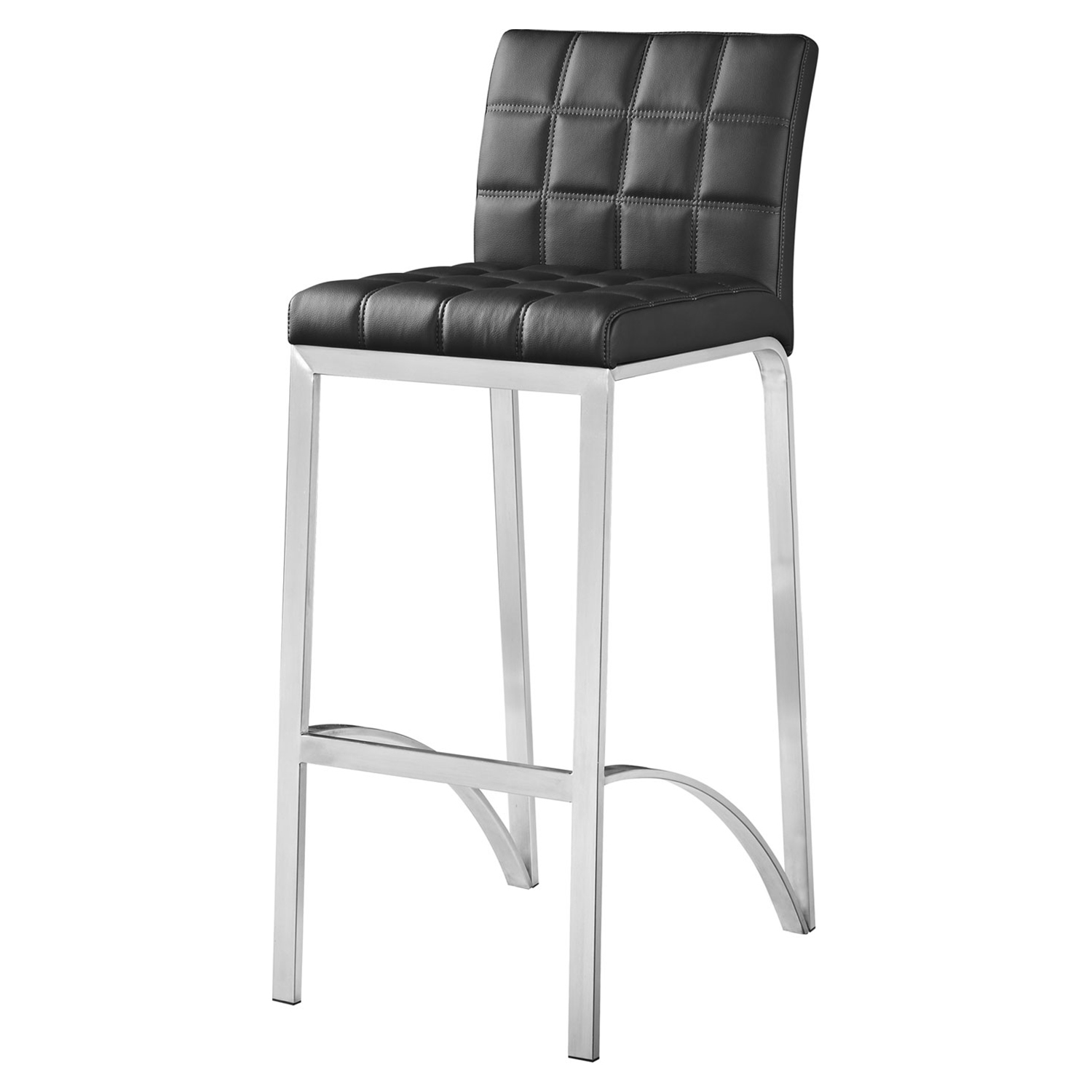 Lincoln Bar Stool - Black Leather Look, Stainless Steel - BROM-BF3210BL