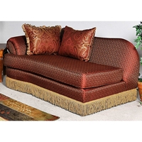 Royal Chaise Lounge - Fringed Skirt, Baring Rust Fabric