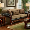 Salem Sofa - Rolled Arms, Wood Trim, Radar Mocha Fabric - CHF-1030-S