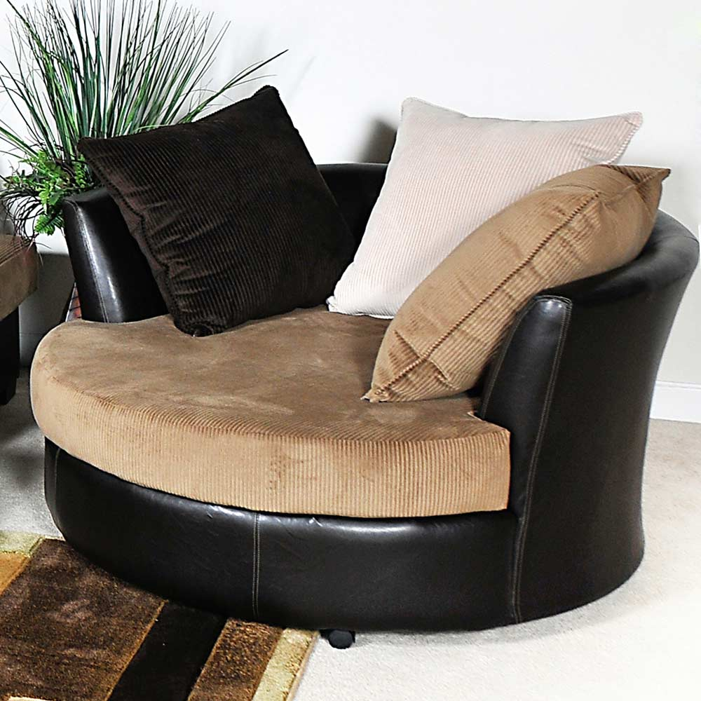 Domino Round Lounge Chair - Casters, Multi-Toned Pillows - CHF-1450-SC
