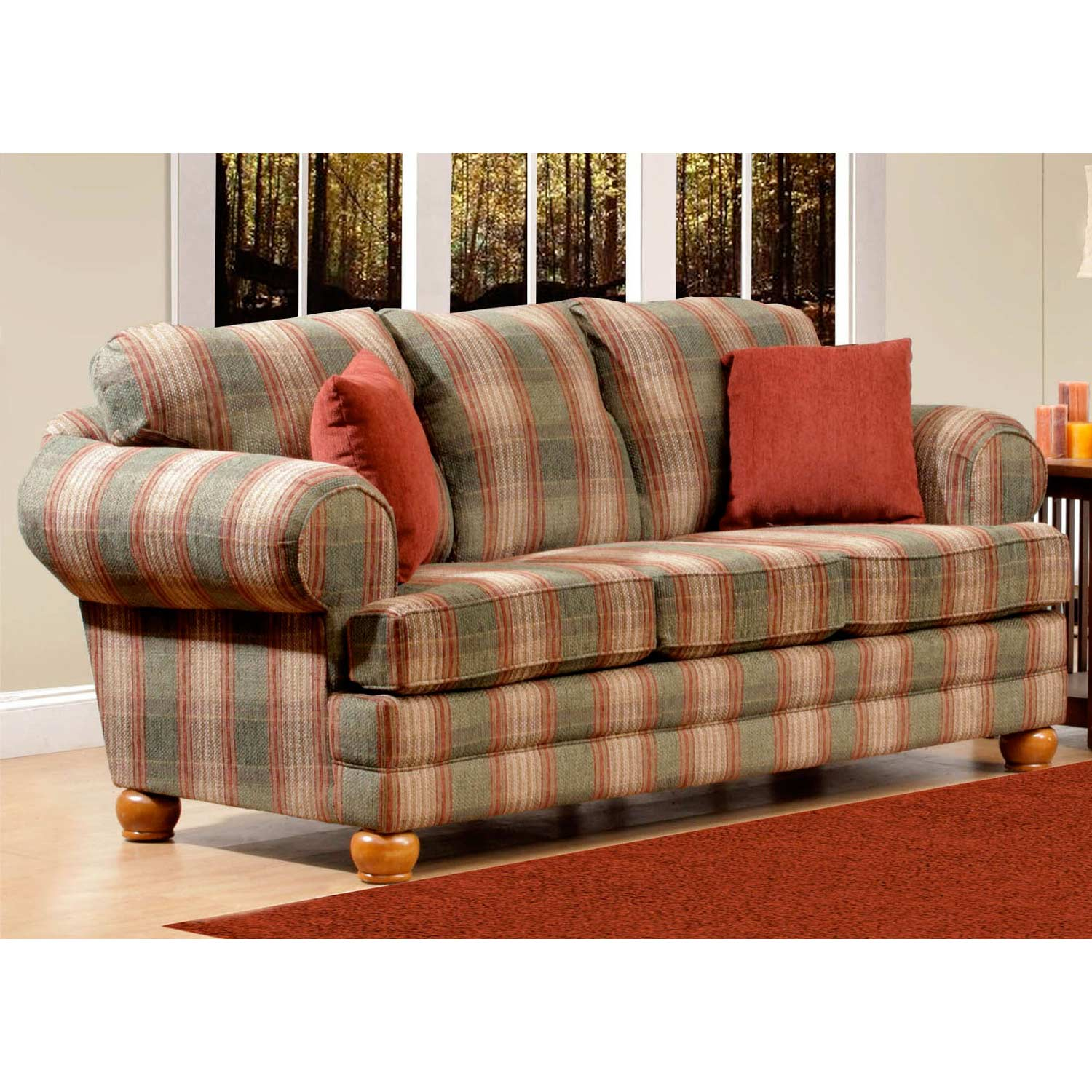 Cedaredge Plaid Sofa Pine Ridge Green Fabric Dcg Stores