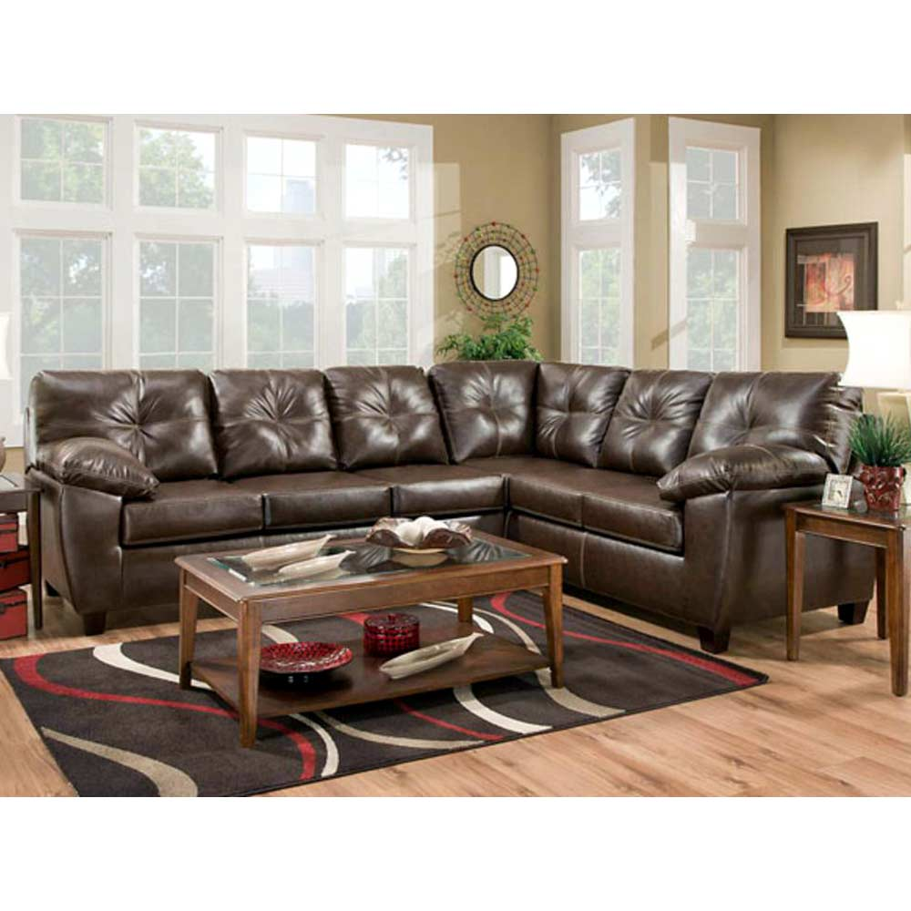 Ocean Sectional Sofa Contrast Stitching Thomas Mahogany Dcg Stores