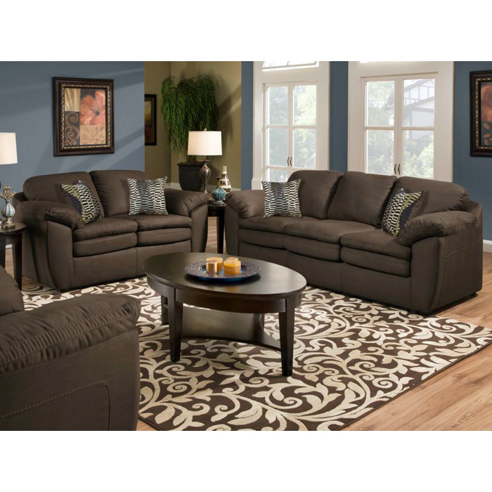 Mercer Pillow Back Loveseat - Glacier Coffee Fabric - CHF-183252-7904
