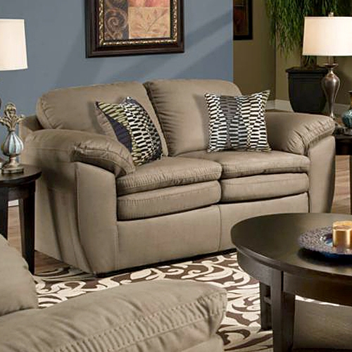 Mercer Pillow Back Loveseat - Glacier Camel Fabric - CHF-183252-7902