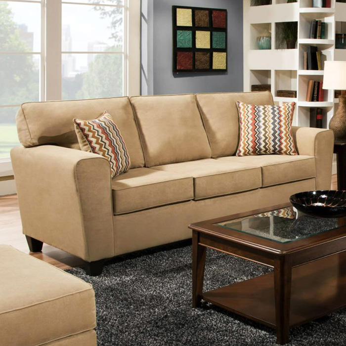 Beaumont Transitional Sofa Temperance Brownstone Fabric