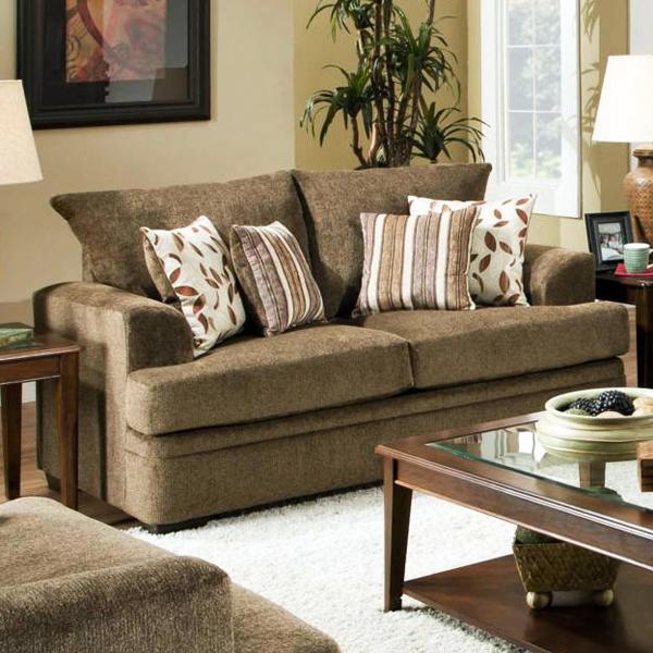 Cornell Cocoa Sofa Set The Furniture Shack: Calexico Pillow Back Loveseat - Cornell Cocoa Fabric