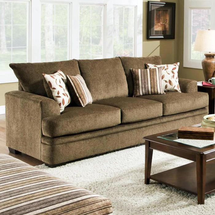 Cornell Cocoa Sofa Set The Furniture Shack: Calexico Pillow Back Sofa - Cornell Cocoa Fabric