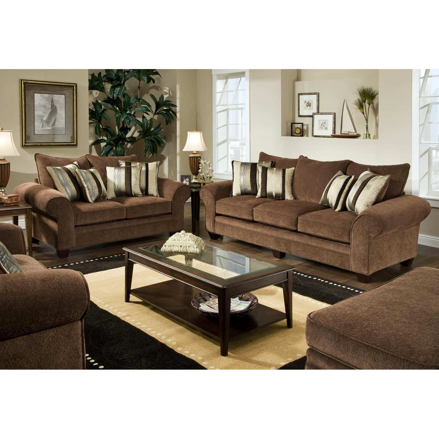 Clearlake Roll Arm Fabric Loveseat - Masterpiece Chocolate - CHF-183702-3950