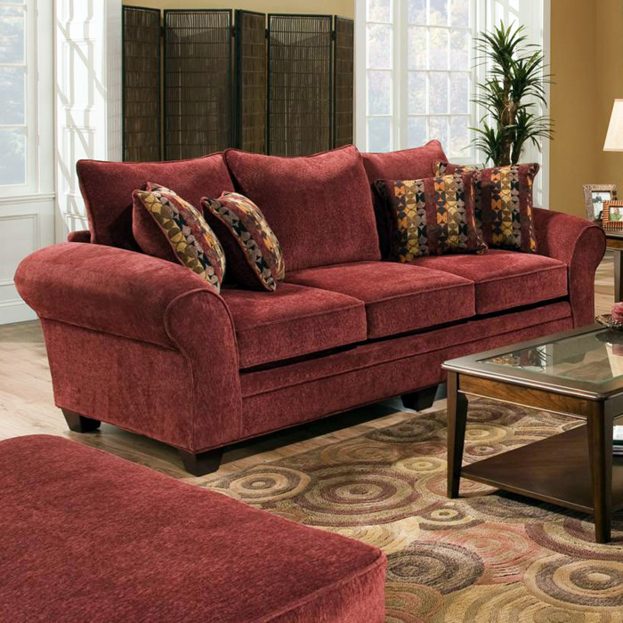 Clearlake Roll Arm Fabric Sofa - Masterpiece Burgundy - CHF-183703-3952
