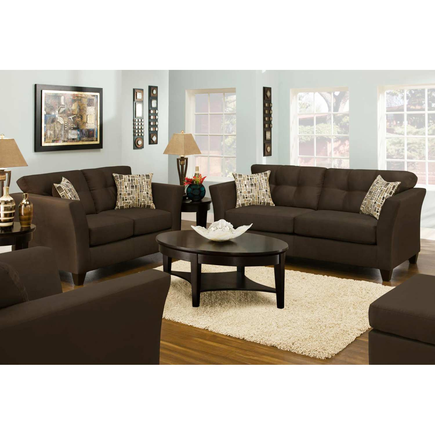 Del Mar Tufted Loveseat - Beijing Chocolate Fabric - CHF-184502-8019