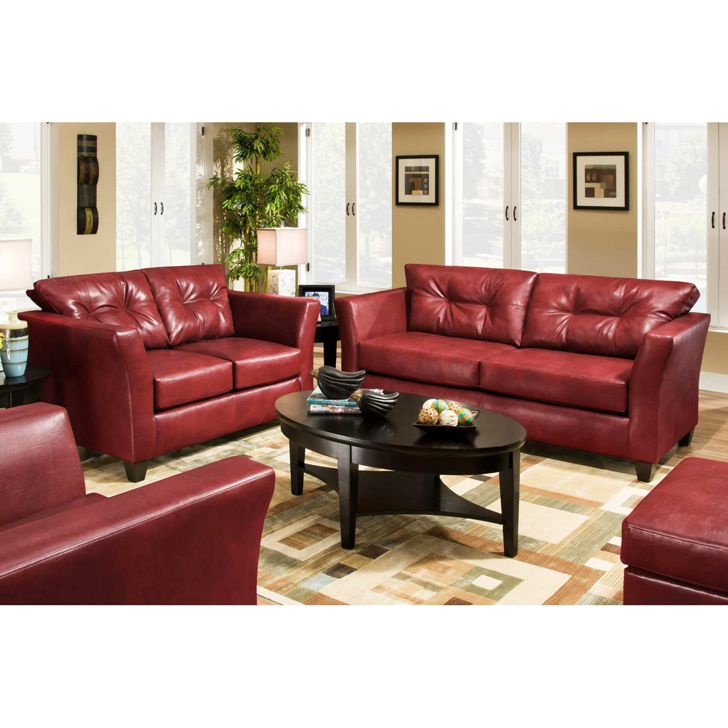 Del Mar Tufted Leather Sofa Tonto Strawberry Dcg Stores