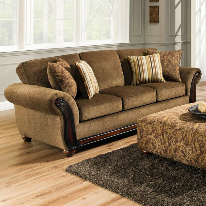 Fairfax Sleigh Arm Sofa - Cornell Chestnut Fabric