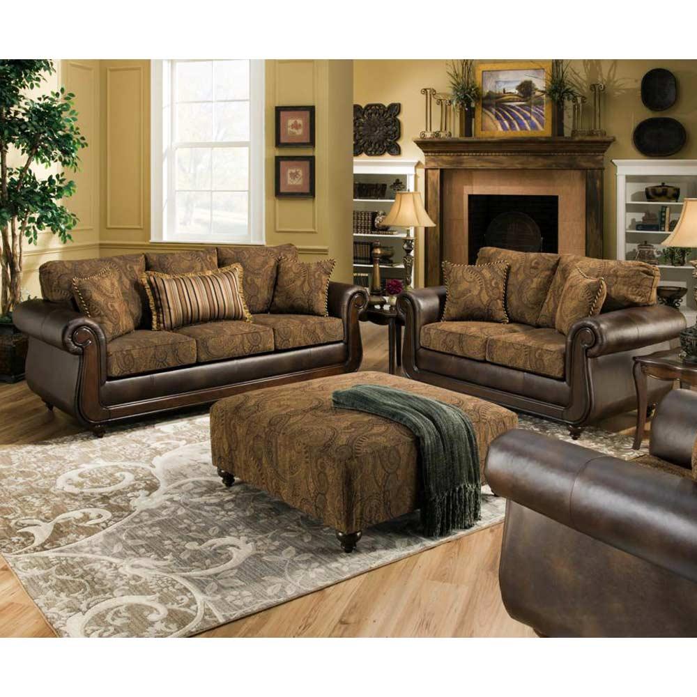 Gentil ... Oneida Traditional Sofa   Wood Trim, Isle Tobacco Fabric    CHF 185853 6370