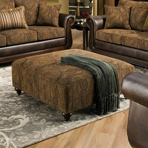 Oneida Traditional Ottoman - Turned Feet, Isle Tobacco Fabric