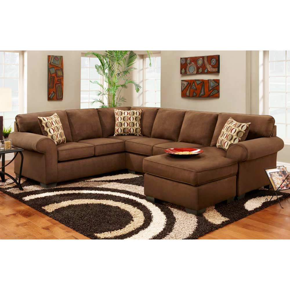 Adams microfiber chaise sectional sofa patriot chocolate for Brown microfiber sectional with chaise