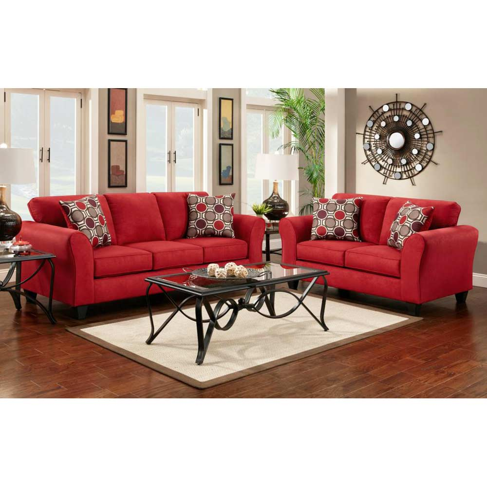 Lehigh Microfiber Loveseat - Patriot Red - CHF-195002-PR