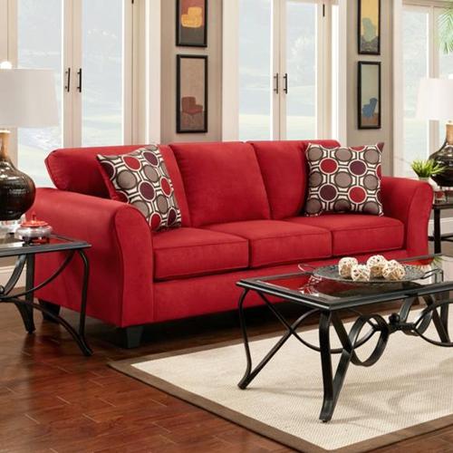 Lehigh Microfiber Sofa Patriot Red Dcg Stores