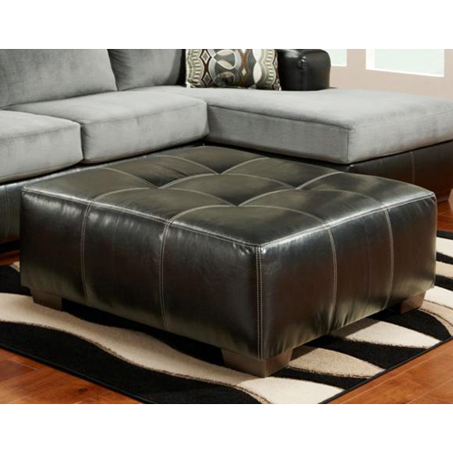 Bradford Square Party Ottoman Black Upholstery Dcg Stores