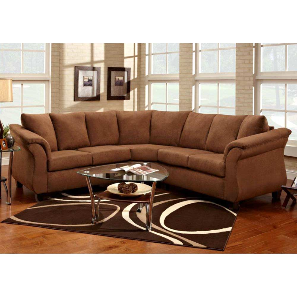 Michelle sectional sofa tapered feet flat suede for Suede sectional