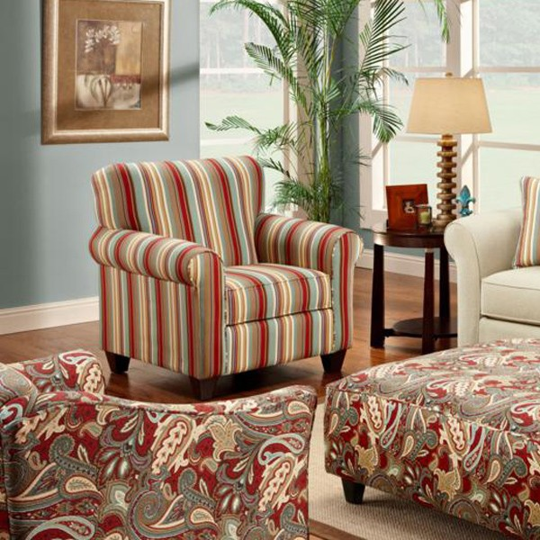 Essex striped fabric accent chair dcg stores for Striped chairs living room