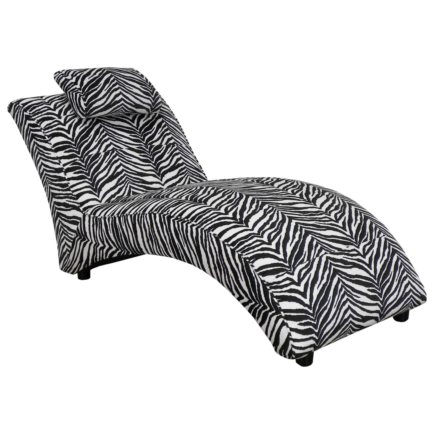 blaine fabric chaise lounge zebra pattern dcg stores. Black Bedroom Furniture Sets. Home Design Ideas
