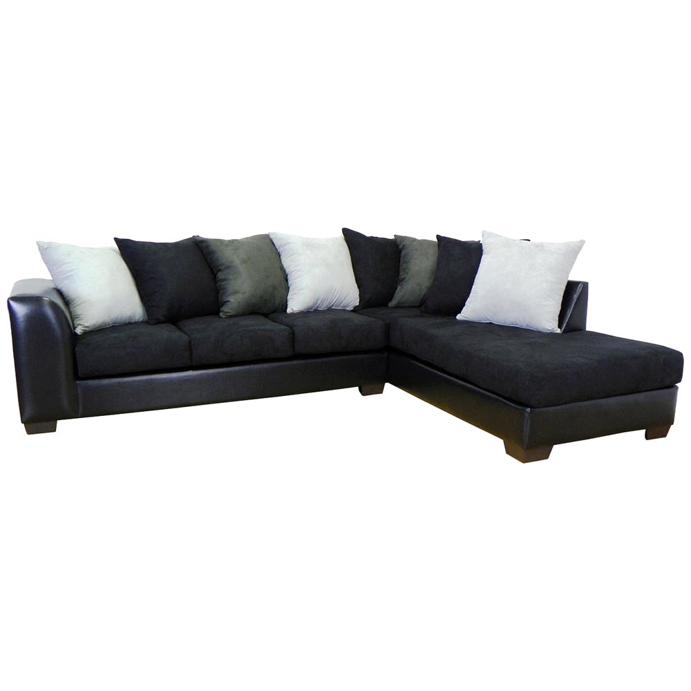 Christine sofa chaise sectional bulldozer black dcg for Black sectional with chaise
