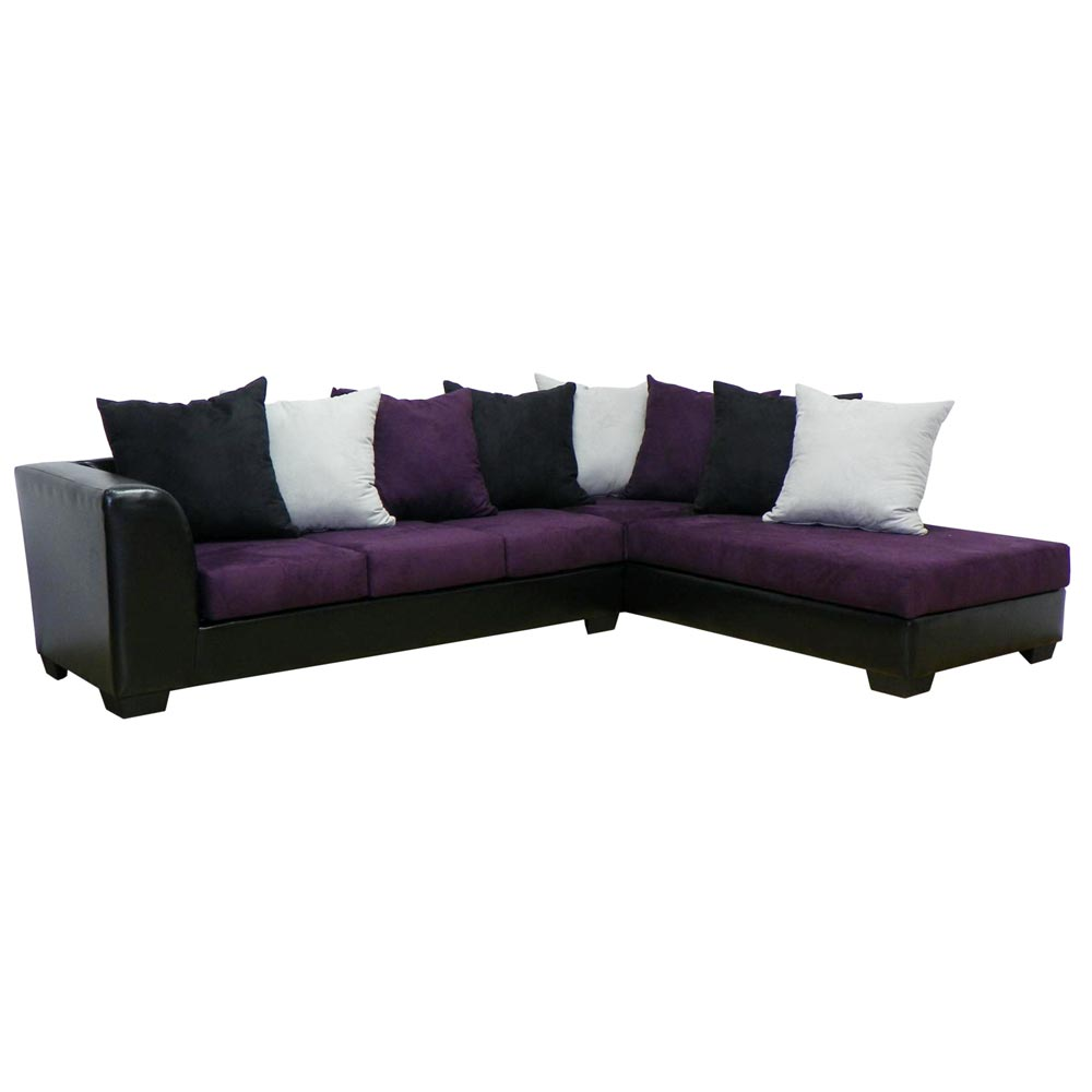 Christine sofa chaise sectional bulldozer eggplant for Sofa retailers