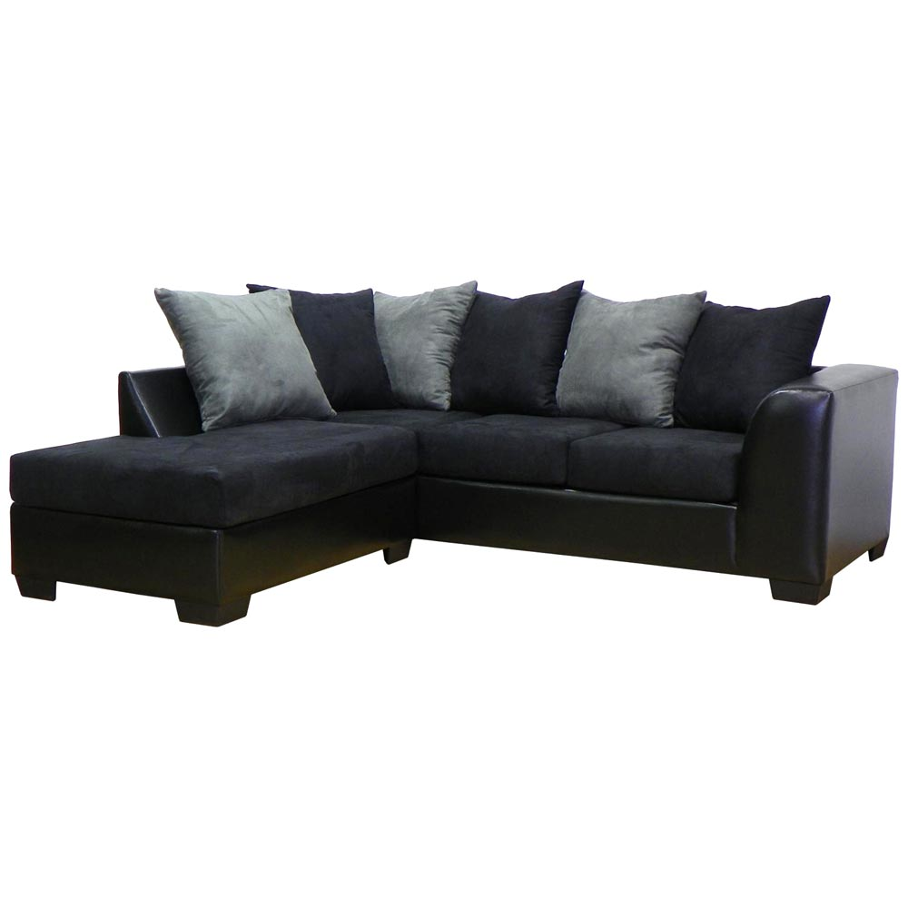 Patty sofa chaise sectional bulldozer black dcg stores for Black sectional sofa with chaise