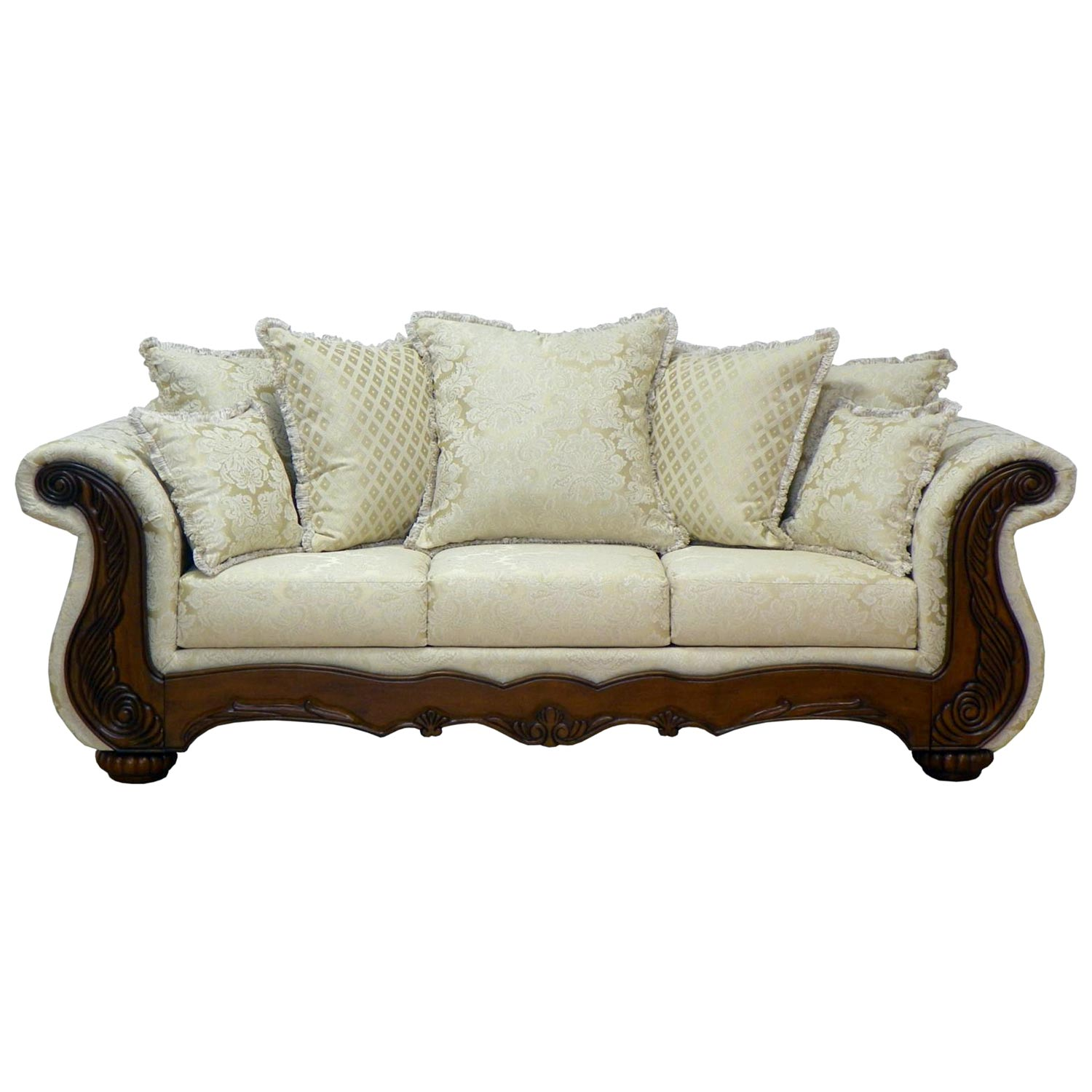 Kate Sleigh Style Sofa - Carved Wood, Madison Straw