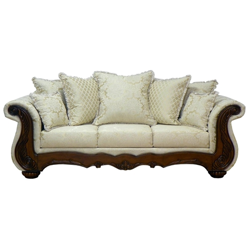 Kate sleigh style sofa carved wood madison straw dcg for T furniture okolona ms