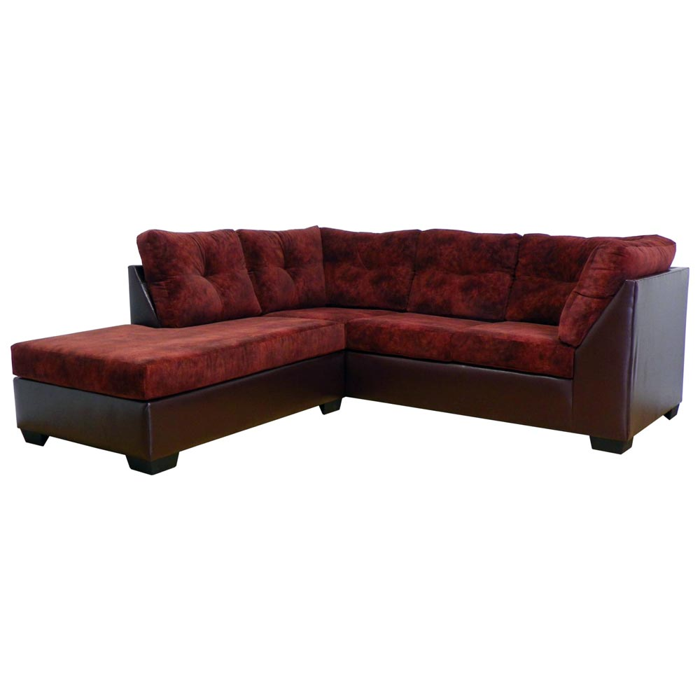 miranda sofa chaise sectional tufted chaparral burgundy dcg stores. Black Bedroom Furniture Sets. Home Design Ideas
