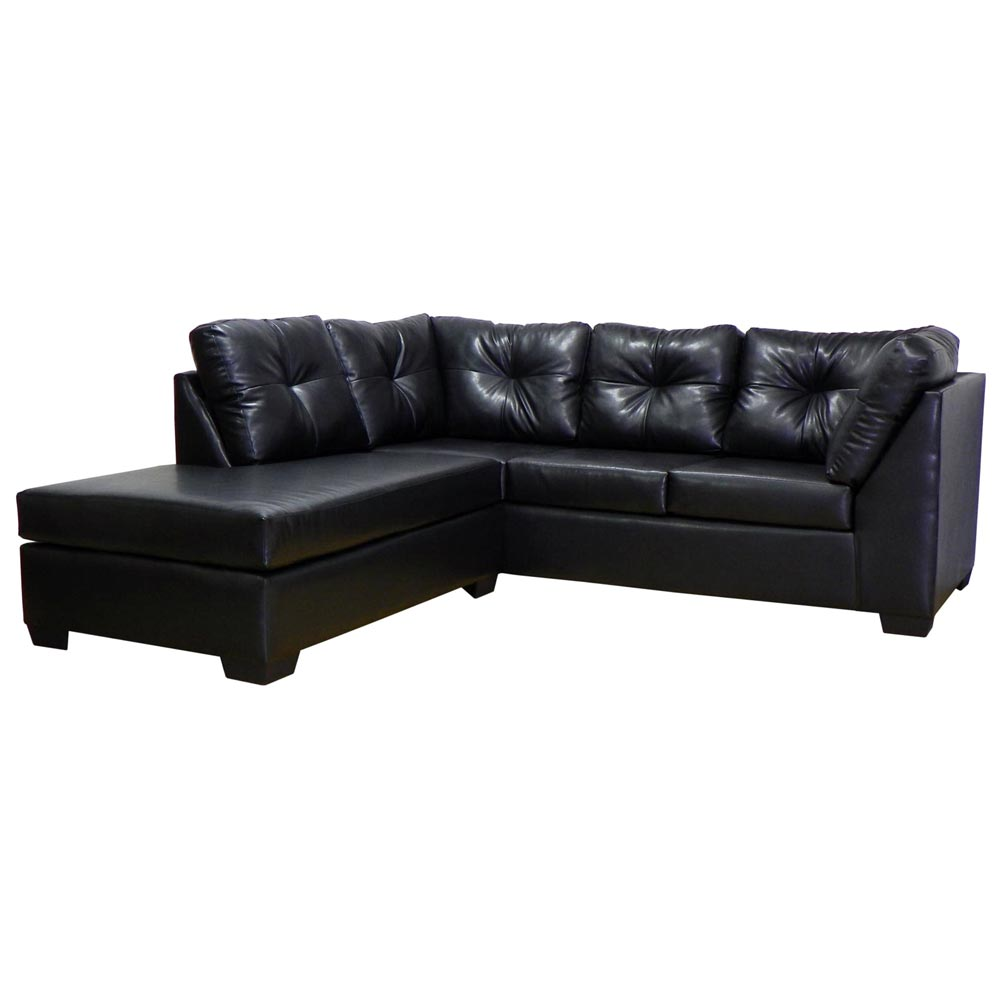 Miranda sofa chaise sectional tufted san marino black for Black sectional with chaise