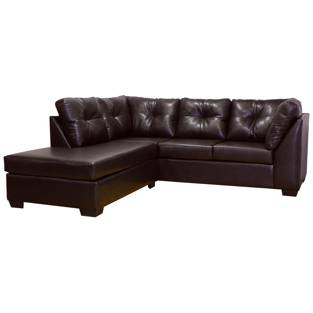 Miranda sofa chaise sectional tufted san marino brown for Brown couch with chaise