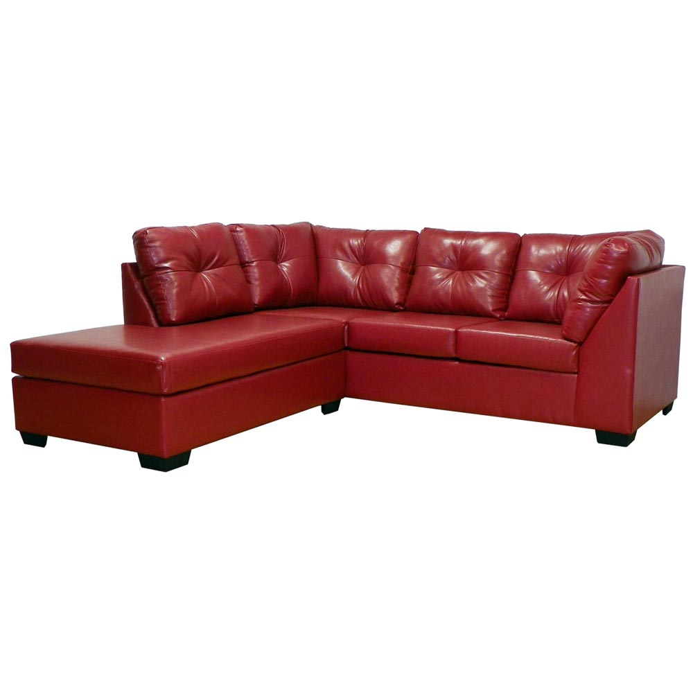 miranda sofa chaise sectional tufted san marino red dcg stores. Black Bedroom Furniture Sets. Home Design Ideas