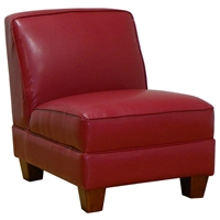 Ginger Armless Lounge Chair - Wood Feet, San Marino Red