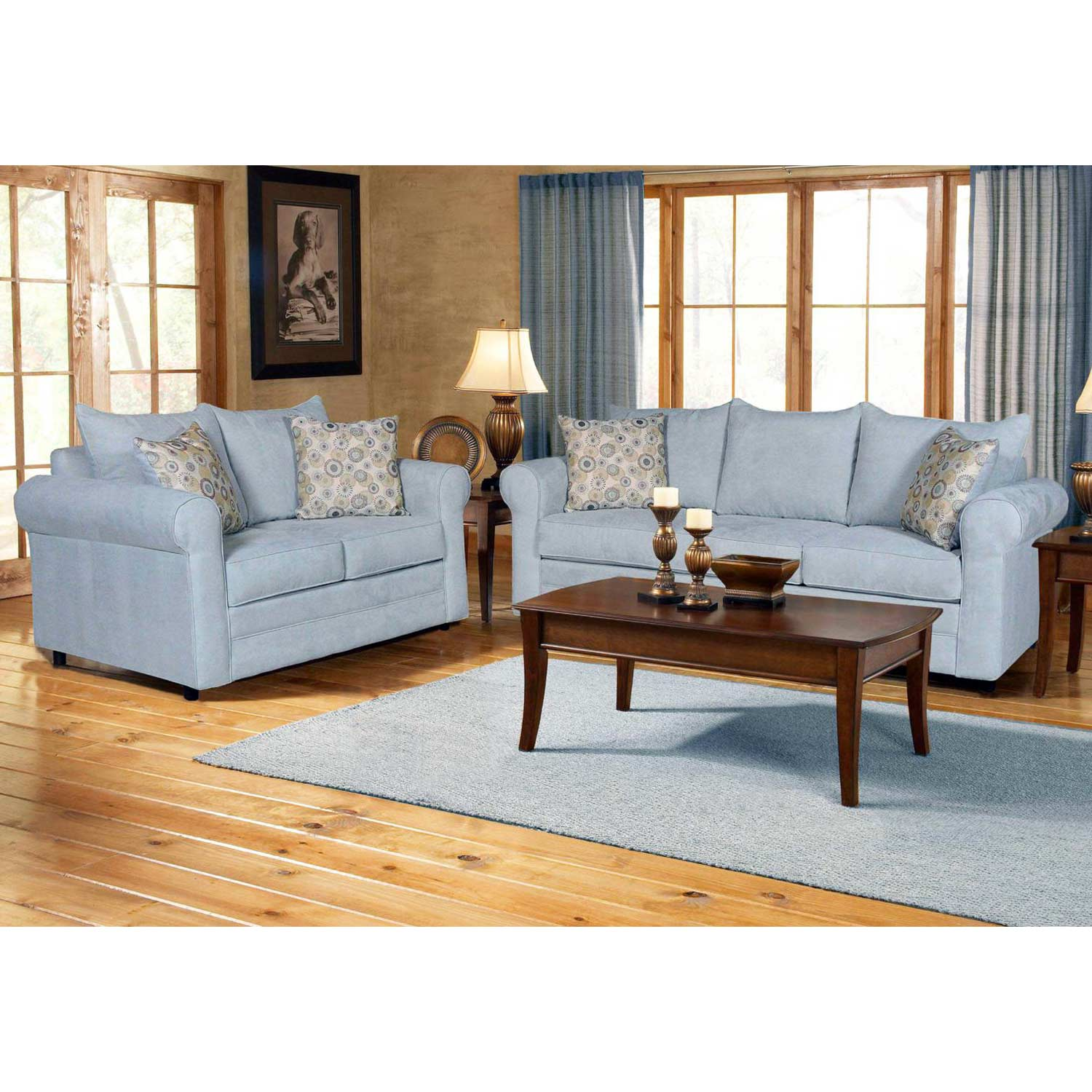 Anita Pillow Back Sofa - Rolled Arms, Blitz Capri Fabric - CHF-255400-30