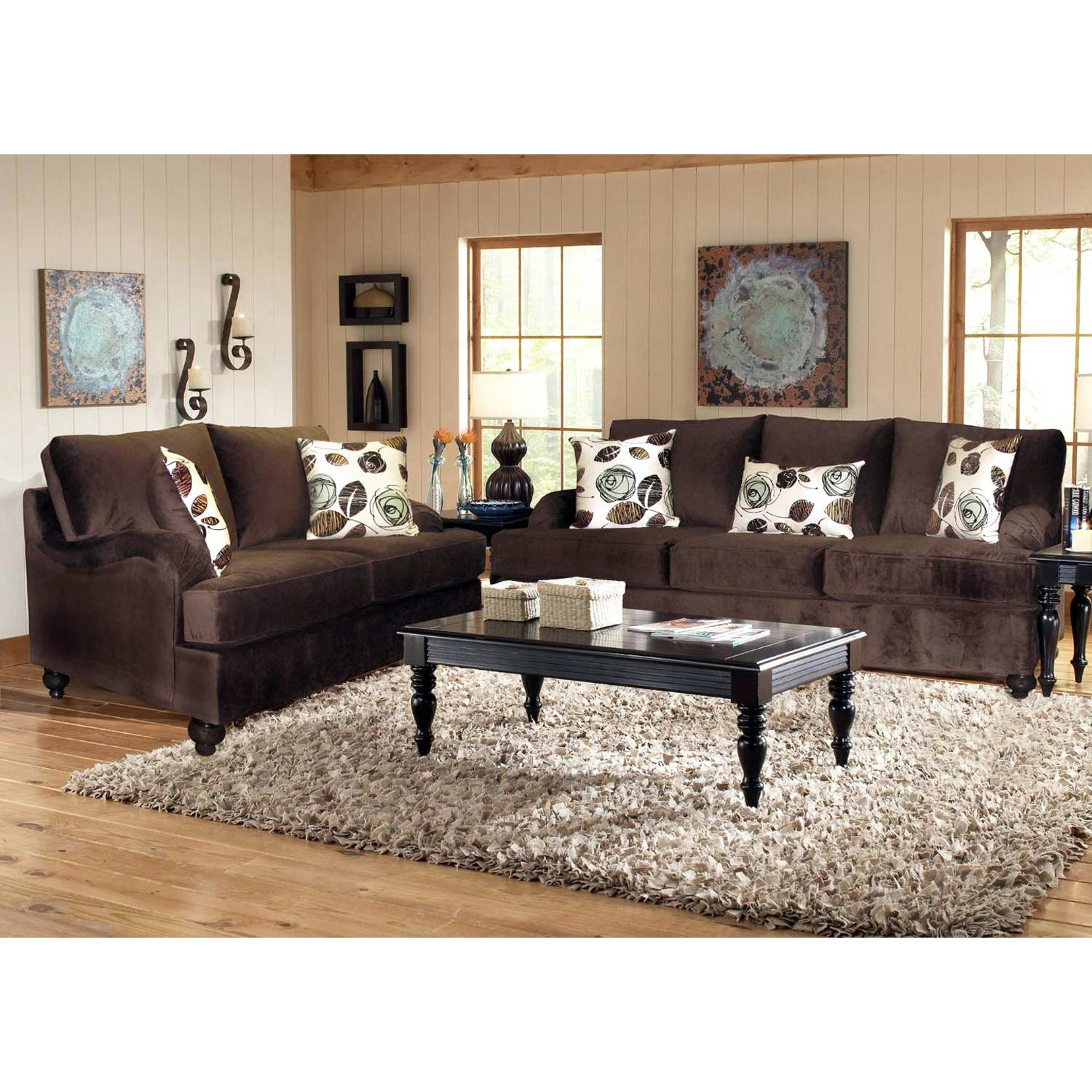 Chloe Transitional Fabric Sofa - Turned Feet, Bella Chocolate - CHF-256700-30