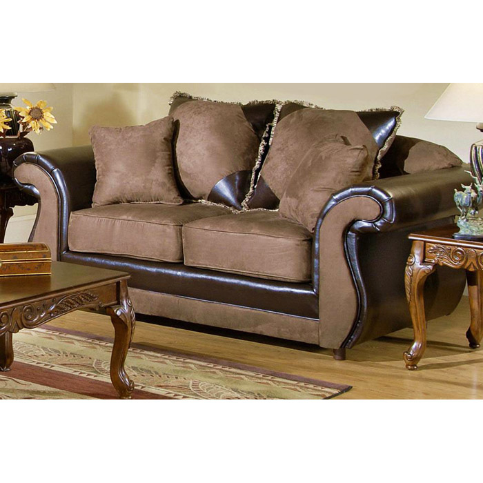 Vicky Chocolate and Mocha Upholstered Sofa and Loveseat Set - CHF-2700-SET