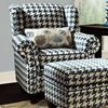 Francine Houndstooth Fabric Chair - Keltic Peacock Fabric - CHF-272270-011