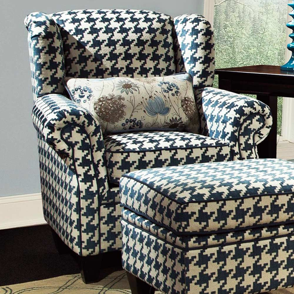 Francine Houndstooth Fabric Chair Keltic Peacock Fabric Dcg Stores