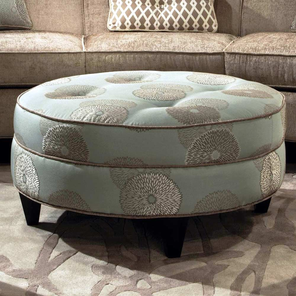 Esse Round Fabric Ottoman Tufting Beverly Drizzle Dcg