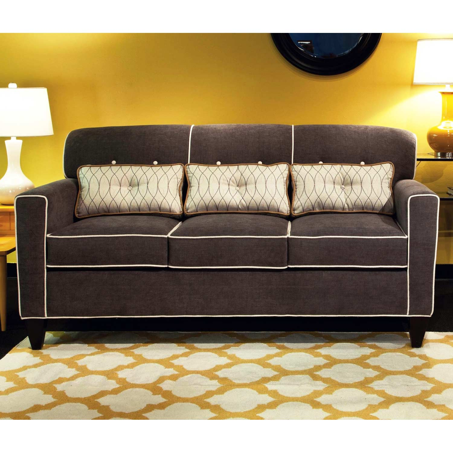 ally apartment size sofa buttons heavenly mocha fabric dcg stores
