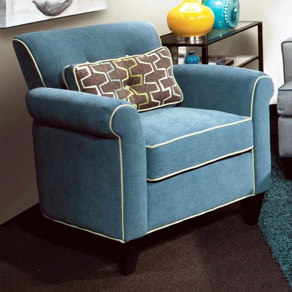 Tiffany Rolled Arm Accent Chair - Jukebox Blueberry Fabric - CHF-278000C-011