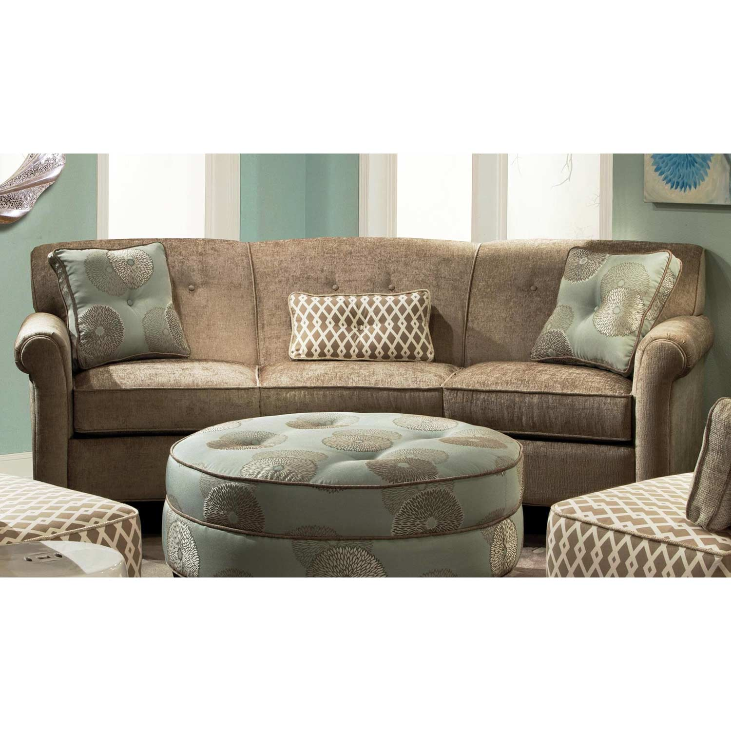 Esse Rolled Arm Fabric Sofa - Buttons, Xanadu Putty - CHF-278000C-371
