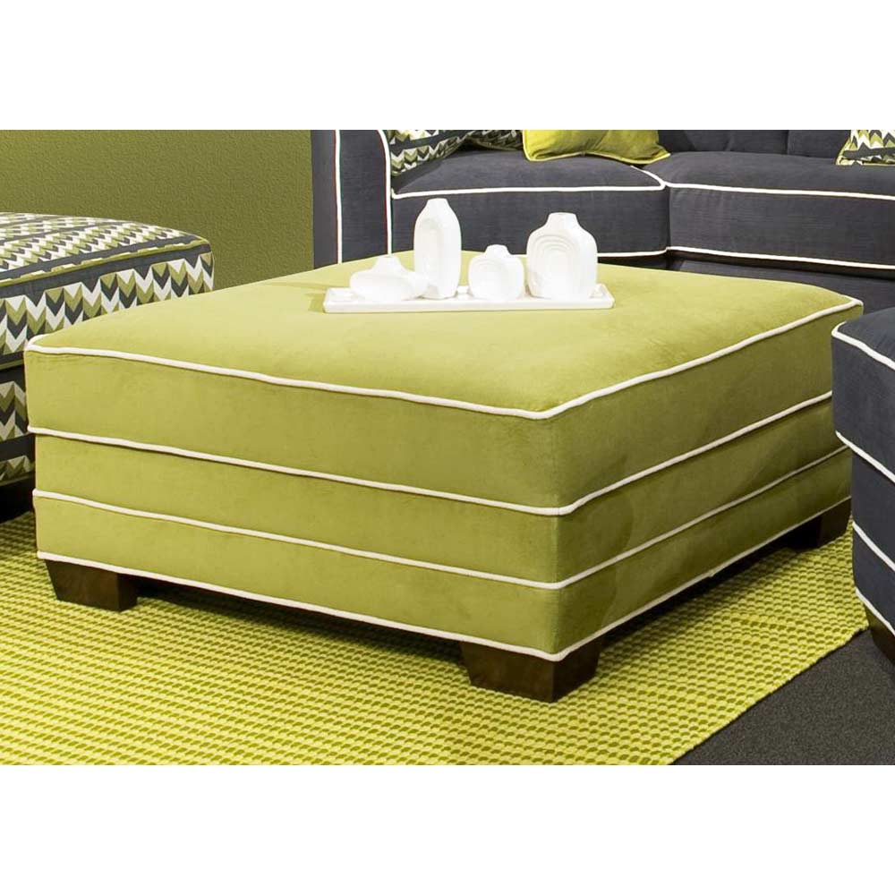 Square Storage Ottoman - Contrasting Welts, Block Feet - CHF-279000-39