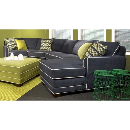 Simply yours 4 piece chaise sectional sofa contrasting for Sectional sofa pieces sold separately
