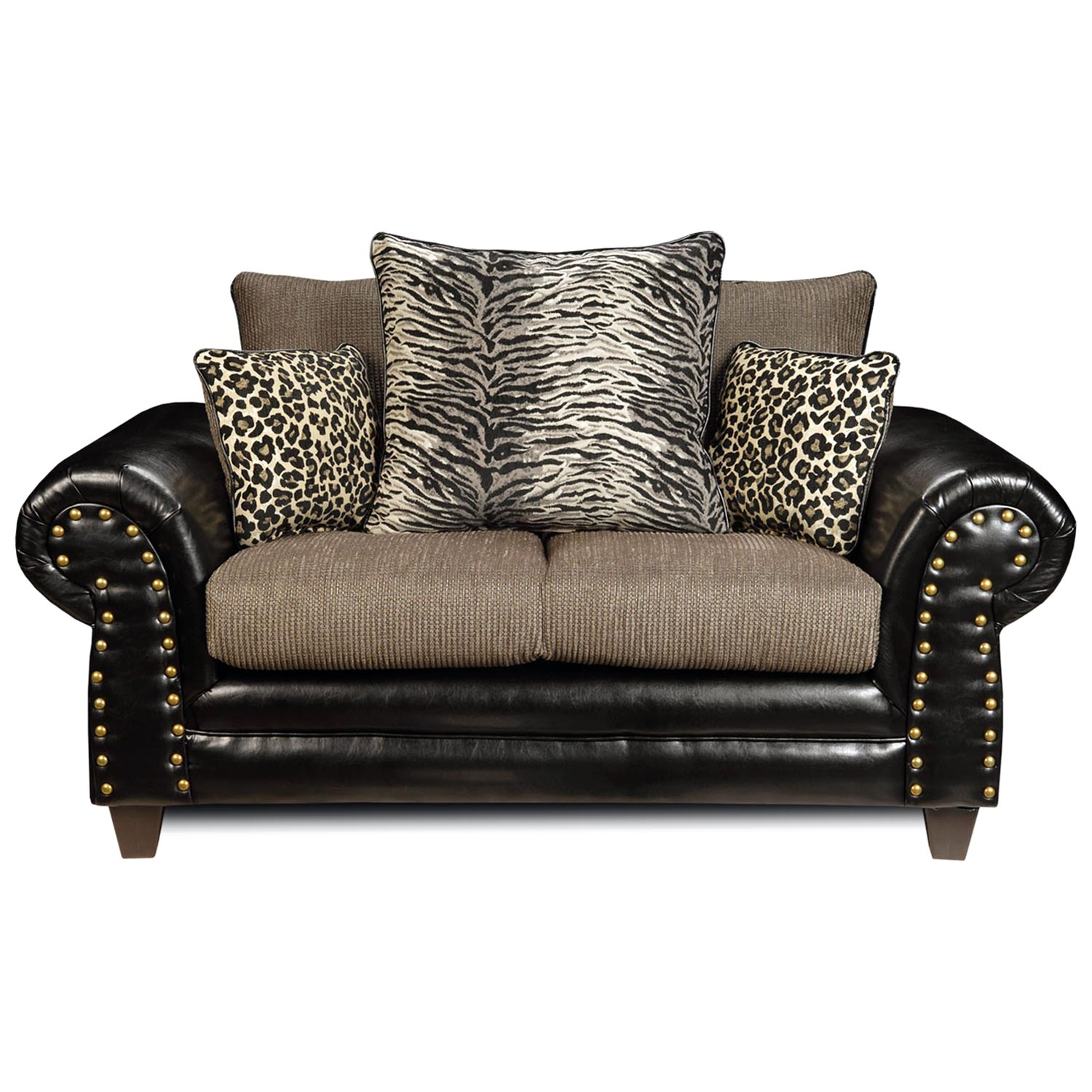 Colbie Transitional Loveseat Leopard Tiger Print Pillows Dcg Stores