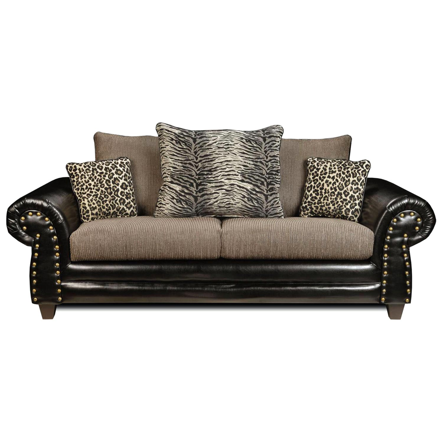 Colbie Transitional Sofa Leopard Tiger Print Pillows Dcg Stores