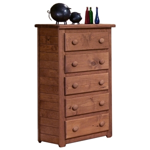 5-Drawer Chest - Bead Board Sides, Mahogany Finish